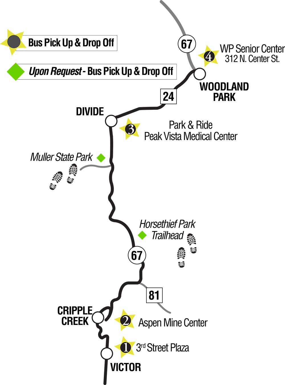 Scenic Drive to Cripple Creek Colorado Bus Schedules Transit Transportation Map